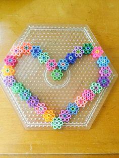 Heart of flowers Perler Bead Designs, Easy Perler Bead Patterns, Melty Bead Patterns, Hama Beads Design, Perler Bead Templates, Diy Perler Beads, Perler Bead Art, Bead Loom Patterns, Beading Patterns