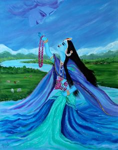 This painting is of Yamuna Maharani maa, (Goddess Yamuna/Yamuna river in India). She is the daughter of Surya (sun) and sister of Yam (god of death). Through her we can attain Shrinathji (krishna) She is usually depicted as holding a garland and lotus flowers. This is my take of her emerging from the water and offering the garland and lotus to Krishna whom she visualizes in the sky. Painting is on a 16 x 20 x 0.75 inch canvas