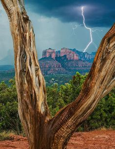 Sunset in Cathedral Rock, Coconino National Forest, Sedona, Arizona  | Monsoon Over Cathedral - Coconino National Forest near Sedona, Arizona