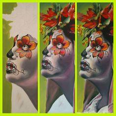 GreenSkull Painting, Art, Craft Art, Painting Art, Kunst, Paintings, Drawings, Art Education, Sanat