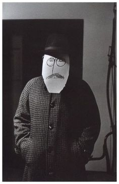 """from """"Saul Steinberg Masquerade"""" by photographer Inge Morath (did a lesson on Steinberg's Chicken!)"""