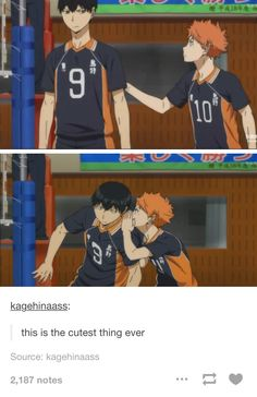 Now kageyama.. if only you could turn your head a bit when hinata pulls you.......if u know what i mean. ♡.♡