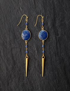 Sapphire and spike drop earrings by rosehipjewelry on Etsy, $38.00