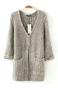 Two-pocket V-neck Half Sleeve Light Grey Loose Cardigan Sweater