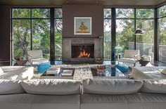 Perfect fireplace/window configuration....Great Room Photo 1....West Lake Hills Residence by Specht Harpman