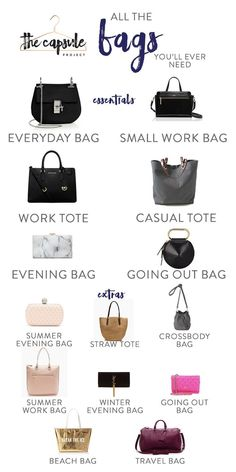 A Complete Bag Wardrobe according to the Lucky Shopping Manual bags handbags style The Complete Bag Wardrobe — The Capsule Project Basic Fashion, Fashion Terms, Fashion Mode, Look Fashion, Fashion Bags, Fashion Accessories, Womens Fashion, Bath Accessories, Fashion Advice