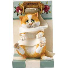 Beeldje van poes in gevecht met wc rol Comic and curious cats