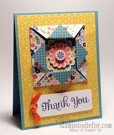 Fun Folds are always a favorite.  You can check out a tutorial how to make this card www.stampstodiefo... #funfolds #polkadotpieces #stampset
