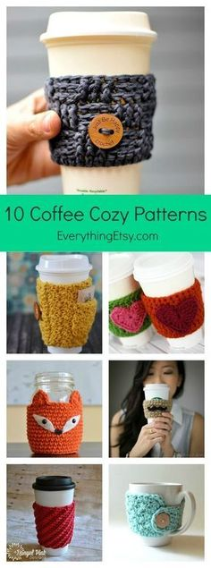 """""""10 Free Crochet Patterns for a Coffee Cozy…or Two!"""""""