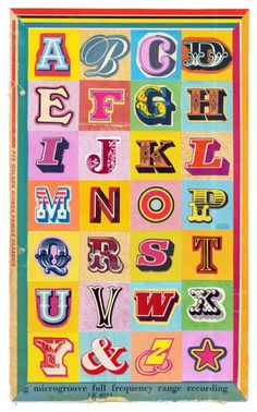 Martin O'Neil:  A found alphabet cut mainly from old record sleeves.