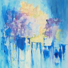 FLOWERS in BLUE II - Available acrylics on canvas,40x40cm  #aaselind.dk - #aaselind.com Shipping worldwide.