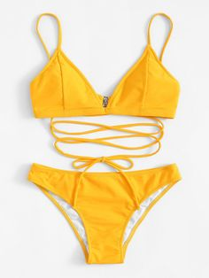 6a266dba221c6 Shop Crisscross Front Solid Top With Bikini Set online. SHEIN offers  Crisscross Front Solid Top With Bikini Set   more to fit your fashionable  needs.