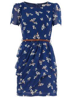 Navy floral belted tea dress