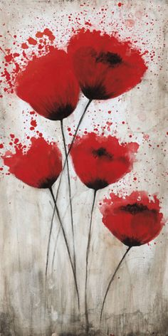 Tangletown Fine Art Luminous Crimson II by Catherine Brink Giclee Print on Gallery Wrap Canvas, 20 Art Decor, Decoration, Canadian Art, Stretched Canvas Prints, Anime Comics, Flower Art, Poppies, Watercolor Paintings, Art Projects