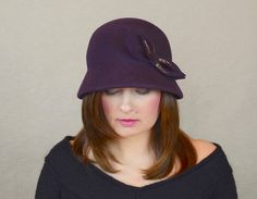 f109df2d Eggplant Wool Felt Cloche Hat with Bow by RUBINA Millinery #cloche #hat  #eggplant