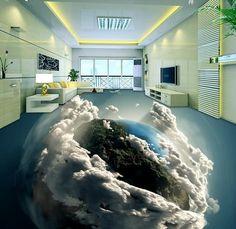 customize 3d flooring Earth wallpaper 3d floor murals for livin groom bathroom…