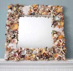 "Beach Decor Shell Mirror - Nautical Decor Natural Seashell Mirror w Starfish & Pearls, 18"""