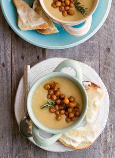 Garlic-Rosemary Cauliflower Potato Soup with Smoky-Maple Chickpeas