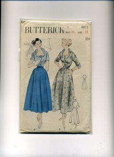 Vintage SEWING PATTERN Butterick 1950's MISSES' DRESS Face-Framing Neckline 18