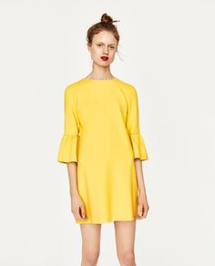 ZARA YELLOW DRESS WITH FRILLED SLEEVES