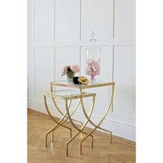 We love this Curved Greek Set of Two Nesting Tables. With their simple but stylish gold finished design they are an ideal way to add a sophisticated touch to your living room. Their metal frame is offset by two sleek glass table tops. Decor, Luxury Furniture Living Room, Pink Home Decor, Cheap Living Room Sets, Gold Furniture, Living Room Side Table, French Living Room Furniture, Glass Top Side Table, Gold Home Decor