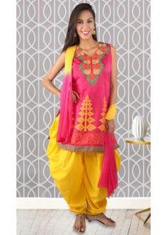 Ethnic Wear Readymade Pink Patiyala Suit - 73950