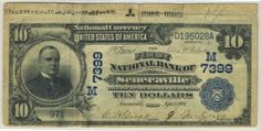 Here is another great Ohio note from today's auction. It is the top note from a date back sheet. The First National Bank of Senecaville was the only national bank in town. Just over a dozen blue seals are documented. From the Selvage Yard Collection.