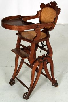Victorian high chair which also converts to a rocking chair Antique High Chairs, Victorian Chair, Nursing Chair, Shabby Chic, Wooden Armchair, Office Chair Without Wheels, Home Office Chairs, Cool House Designs, Unique Furniture