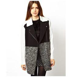 ASOS Coat With Patch Colour Block - Mono