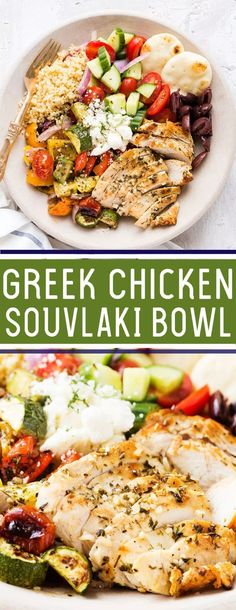 Greek Chicken Souvlaki Bowl Greek Chicken Souvlaki Bowl: Grilled chicken and roasted vegetables served over quinoa with a fresh cucumber salad, Kalmata olives, and feta, garnished with fresh dill recipes healthy Greek Chicken Souvlaki, Greek Marinated Chicken, Greek Chicken Salad, Chicken Souvlaki Marinade, Greek Chicken Breast, Greek Quinoa Salad, Chicken Breasts, Healthy Diet Recipes, Cooking Recipes