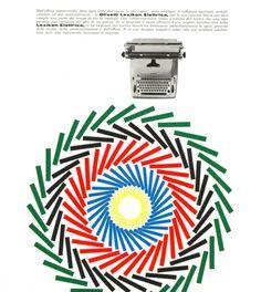Pubblicità disegnata da Giovanni Pintori, graphic designer, per la prima macchina per scrivere elettrica della Olivetti, la Lexikon Elettrica, e pubblicata su riviste e giornali italiani alla fine degli anni '50.