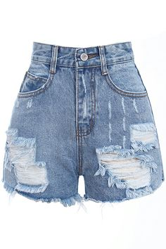 Shop Romwe Retro Fading Destroyed Denim Light-blue Shorts at ROMWE, discover more fashion styles online. Teen Fashion Outfits, Stage Outfits, Casual Outfits, Denim Shorts Style, Distressed Denim Shorts, Blue Denim, Denim Shirts, Dsquared Jeans, Cute Pants