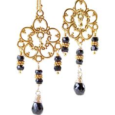 Lux Black Spinel Gemstone Chandelier Earrings- 14k GF/ 24K GV- Wire Wrapped Artisan Handmade Jewelry Gift for Her- Statement Earrings