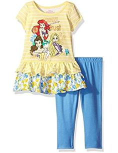 Disney Little Girls' 2 Piece Princesses Legging Set, Yellow, 2 piece princess group legging set. Printed top with ruffle hem and screen-print detail Toddler Outfits, Girl Outfits, Toddler Girls, Girls Dress Up, Disney Outfits, Disney Clothes, Cute Baby Clothes, Little Princess, Clothing Sets
