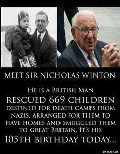 "Such a beautiful & humble man. A life long humanitarian. Must read his biography written by his daughter Barbara Winton ""If it's not possible.The life of Sir Nicholas Winton"". Sweet Stories, Cute Stories, We Are The World, In This World, Human Kindness, Touching Stories, Faith In Humanity Restored, Wtf Fun Facts, Random Facts"