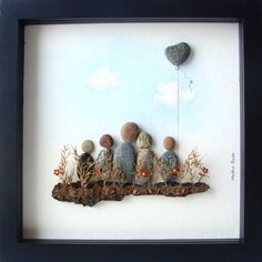 Pebble Art Family Unique Family Gift Family of Five by MedhaRode