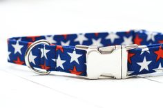 4th of July Dog Collar Red White and Blue Stars by ZaleyDesigns