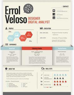 Errol Veloso's Resume. 20 Innovative Resume Examples. #resume #design #inspiratino #identity #branding