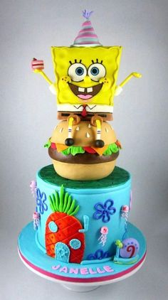 What an adorable Sponge Bob Cake Decorate your childs name below