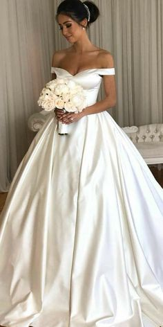 Satin Wedding Dresses ball gown wedding dresses simple sweetheart neck off the shoulder emili ob - Look at the different kinds of ball gown wedding dresses.You'll find bridal dresses made from different fabrics, necklines and with variety amazing details. Wedding Dress Tea Length, Wedding Dress Black, Off Shoulder Wedding Dress, Dream Wedding Dresses, Bridal Dresses, Wedding Gowns, Timeless Wedding Dresses, Lace Wedding, Wedding Frocks