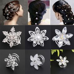 Set 10 Curlies Haarspiralen Strass Hochzeit Kommunion Haarnadeln Haarschmuck