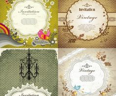 Vector decorative vintage invitation cards with frames