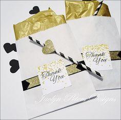 Black & Gold Glitter Wedding Favor Bags
