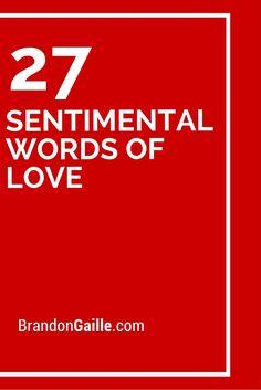 27 Sentimental Words of Love