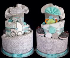 Grey, white & turquoise diaper cake.  www.facebook.com/DiaperCakesbyDiana