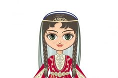 The Doll in the Chechen National Dress (Graphic) by zoyali · Creative Fabrica Concrete Texture, Historical Clothing, Graphic Illustration, Folk, Princess Zelda, Abstract, Creative, Iranian, Forests