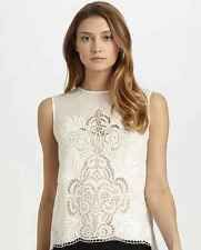 ***AMAZING STELLA MCCARTNEY FLORAL EYELET TOP IN White size 40 S