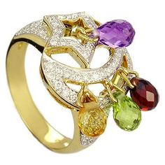 18K Yellow Gold Ring with Amethyst, Citrine, Peridot, Garnet and Diamonds