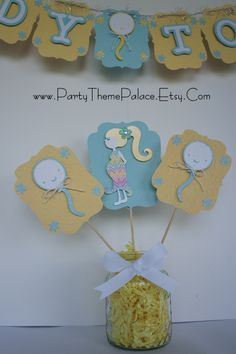 Table Decorations for Ready to Pop Baby Shower Theme at www.PartyThemePalace.Etsy.Com