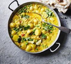 Pea & new potato curry - but read the comments and adapt accordingly
